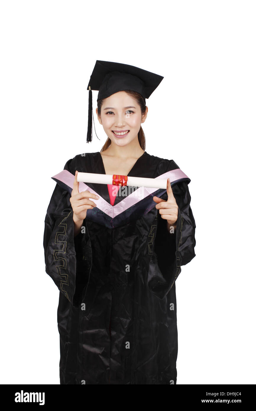 Young woman holding diploma - Stock Image