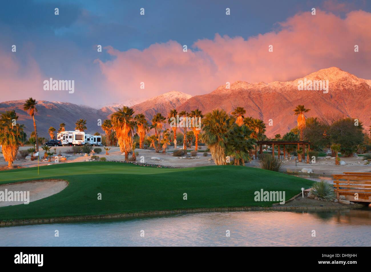 Springs at Borrego RV Resort, Borrego Springs, Anza-Borrego Desert State Park, California. - Stock Image