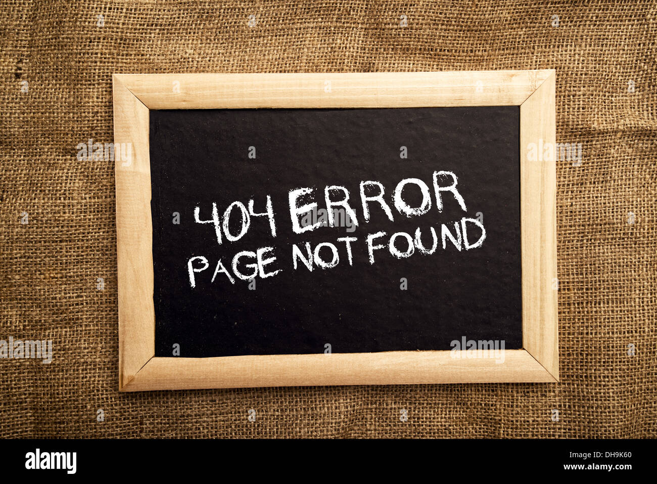 404 error, internet web page not found message on the blackboard. - Stock Image