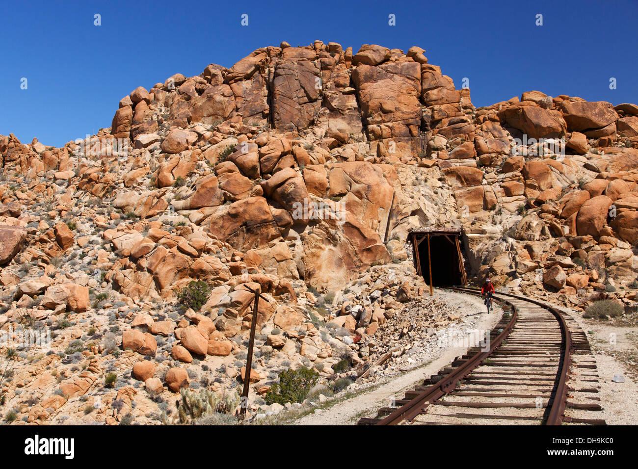 Mountain biking the Carrizo Gorge Railroad Track, Anza-Borrego Desert State Park, California. - Stock Image