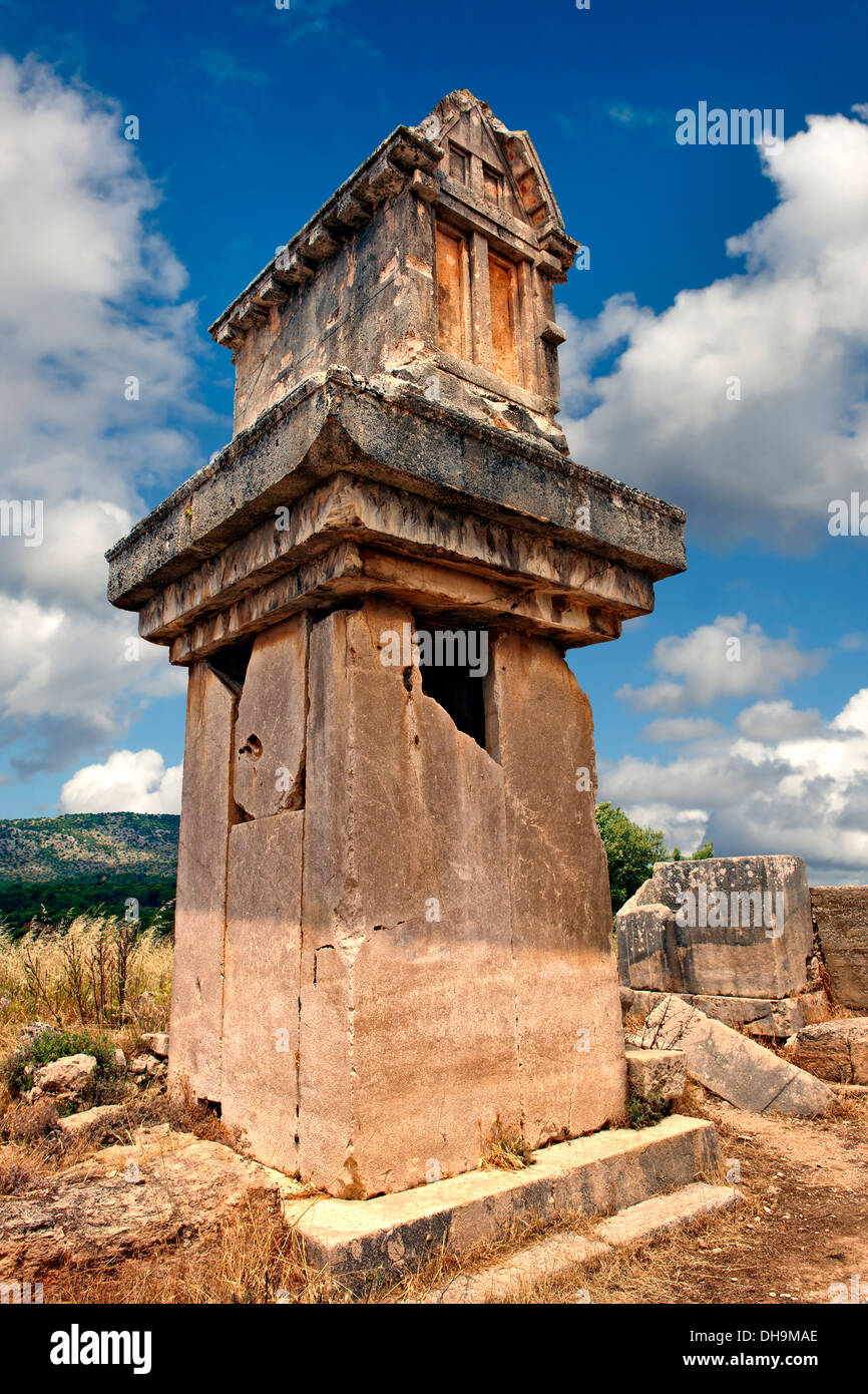 The Lycian 'Harpy Tomb', a marble pillar tomb from 480-470 B.C. Xanthos, Turkey - Stock Image