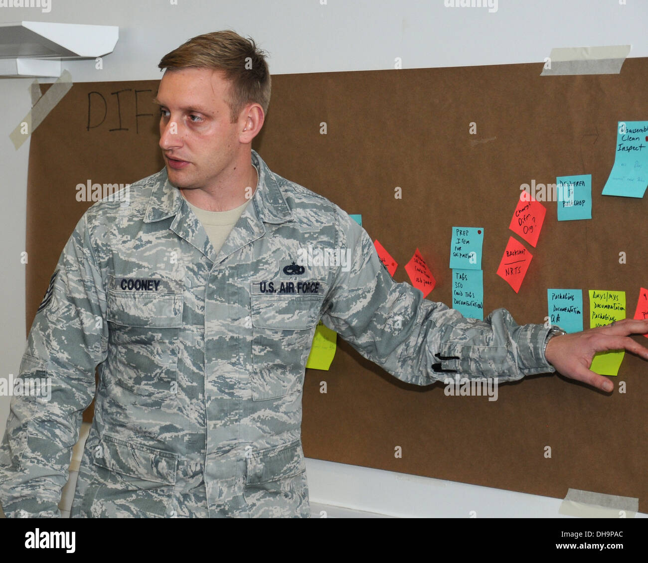 U.S. Air Force Tech. Sgt. Ron Cooney, 100th Maintenance Squadron NCO in charge of the maintenance analysis section from Johnstown, Pa., discusses opportunities to streamline processes and create synergy between the 100th Logistics Readiness Squadron and t - Stock Image