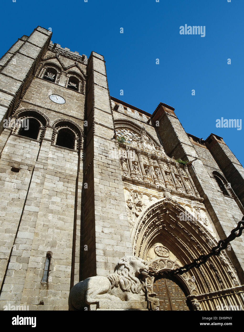 Gothic style. Spain. Avila. St. Salvador cathedral. Facade. - Stock Image