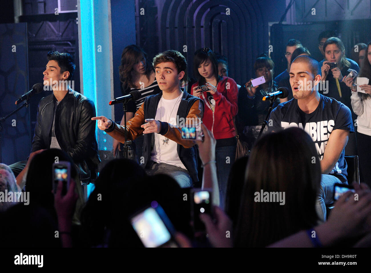 Siva Kaneswaran Nathan Sykes and Max George 'The Wanted' visits