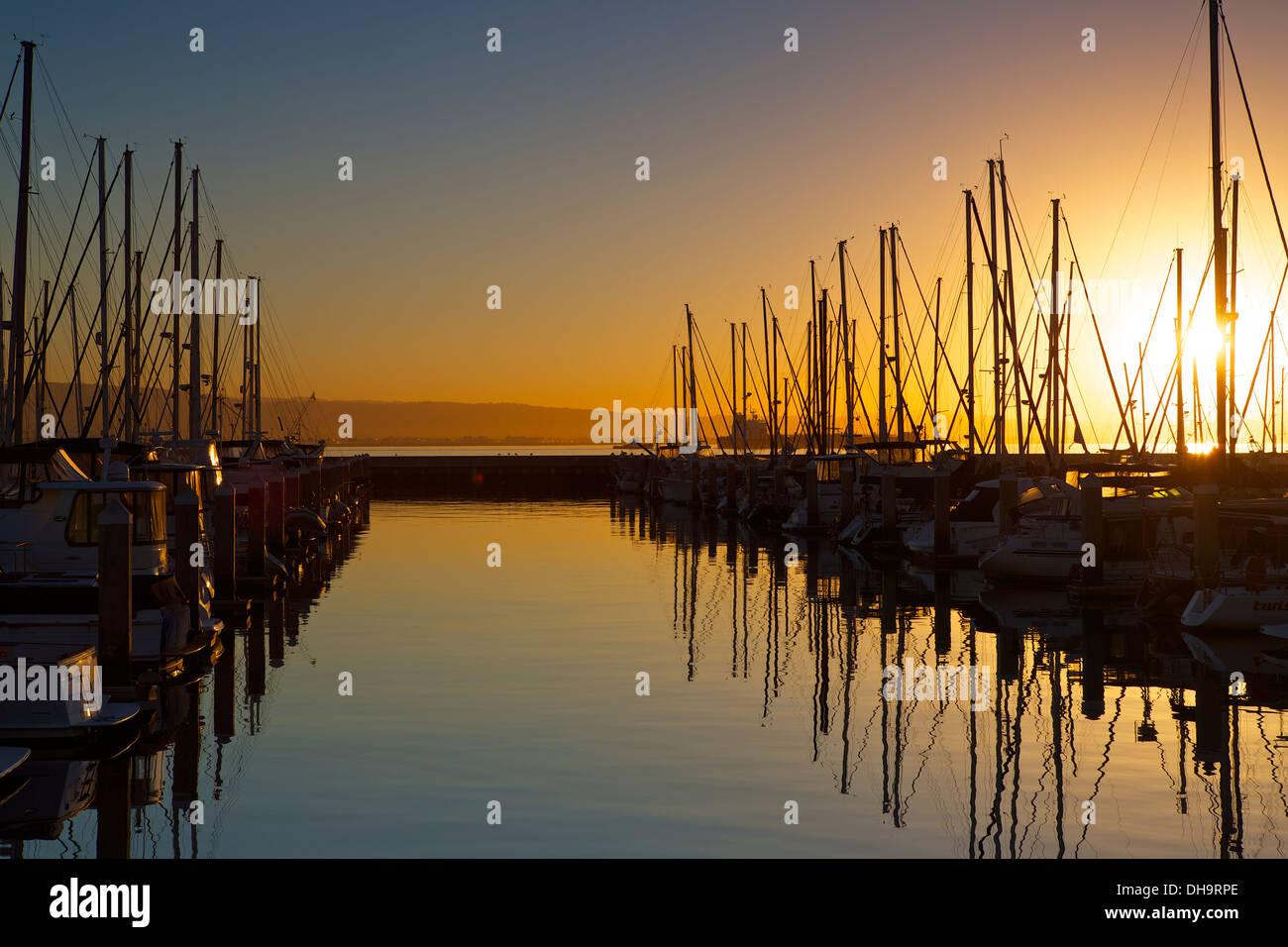 Sunrise at The South Beach Marina, San Francisco Stock Photo