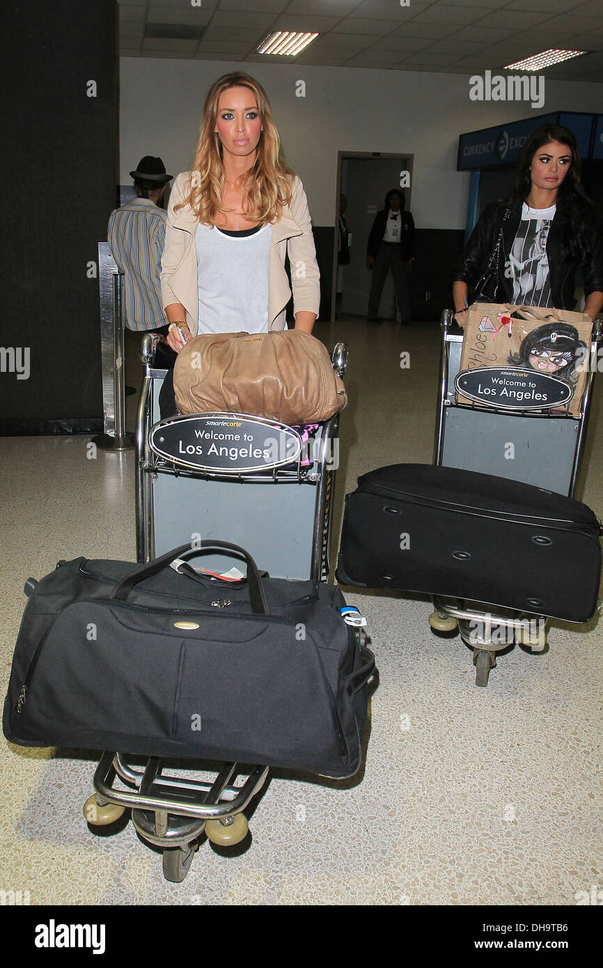 The Only Way is Essex star Lauren Pope finally arrives at LAX after being delayed for three hours following extra security - Stock Image