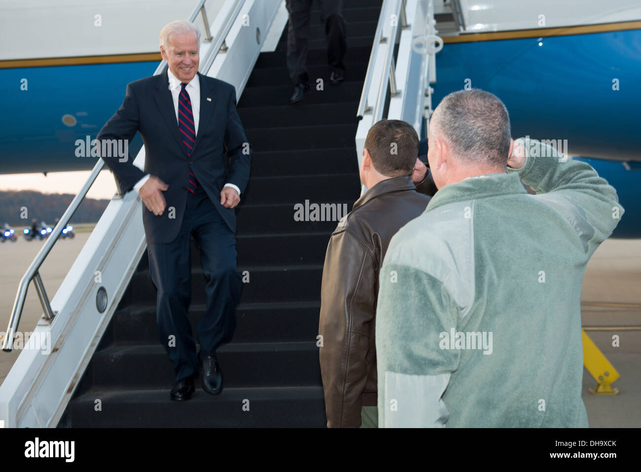 Vice President Joe Biden arrives at the 130th Airlift Wing, Charleston, W.Va., to attend the Jefferson-Jackson Dinner at the Charleston Civic Center, Nov. 2, 2013. - Stock Image