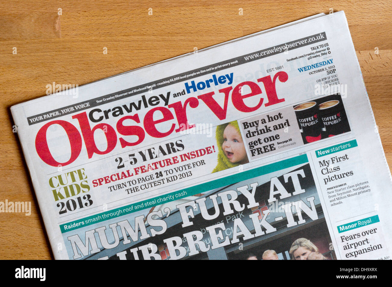 The front page of the Crawley and Horley Observer local newspaper. - Stock Image