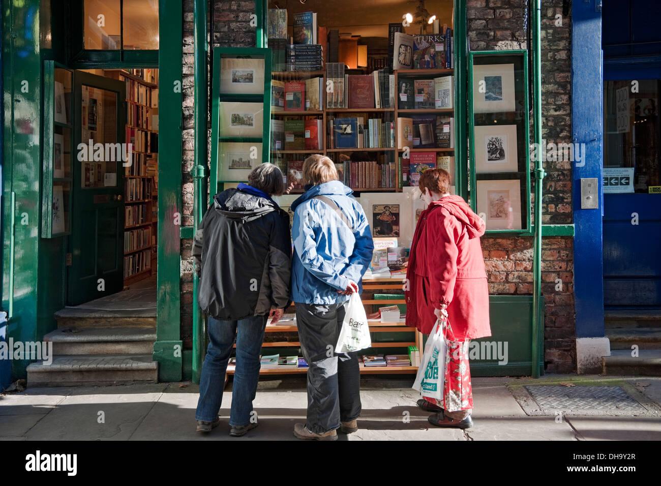 Antiquarian bookshop Minster Gates York North Yorkshire England UK United Kingdom GB Great Britain - Stock Image