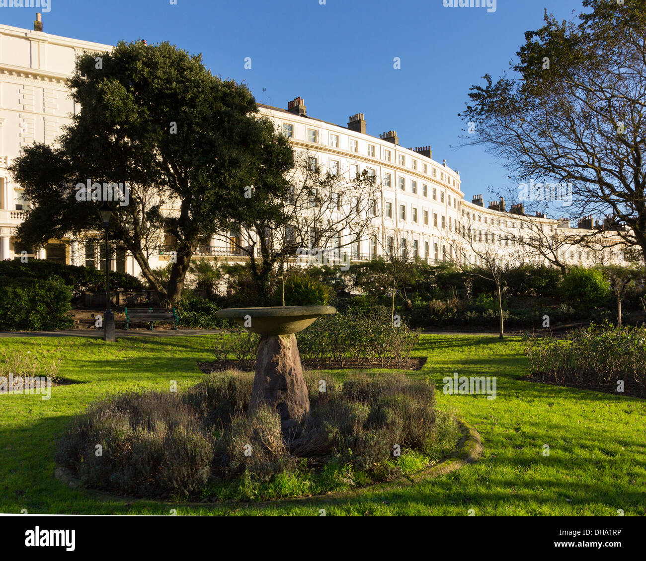 Hove, East Sussex, UK - 4 Nov 2013: Curved terraces of fine architecture in Palmeira Square, Brighton and Hove - Stock Image