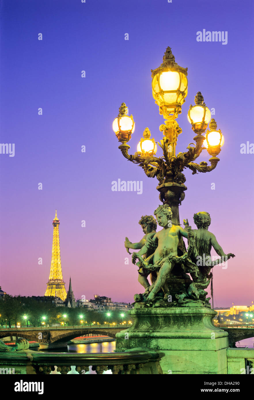 Eiffel Tower from Pont Alexandre III, Paris, France. - Stock Image