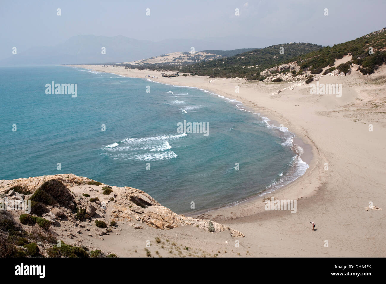 Patara the longest beach in Mediterranean with 26 km length Turkey - Stock Image