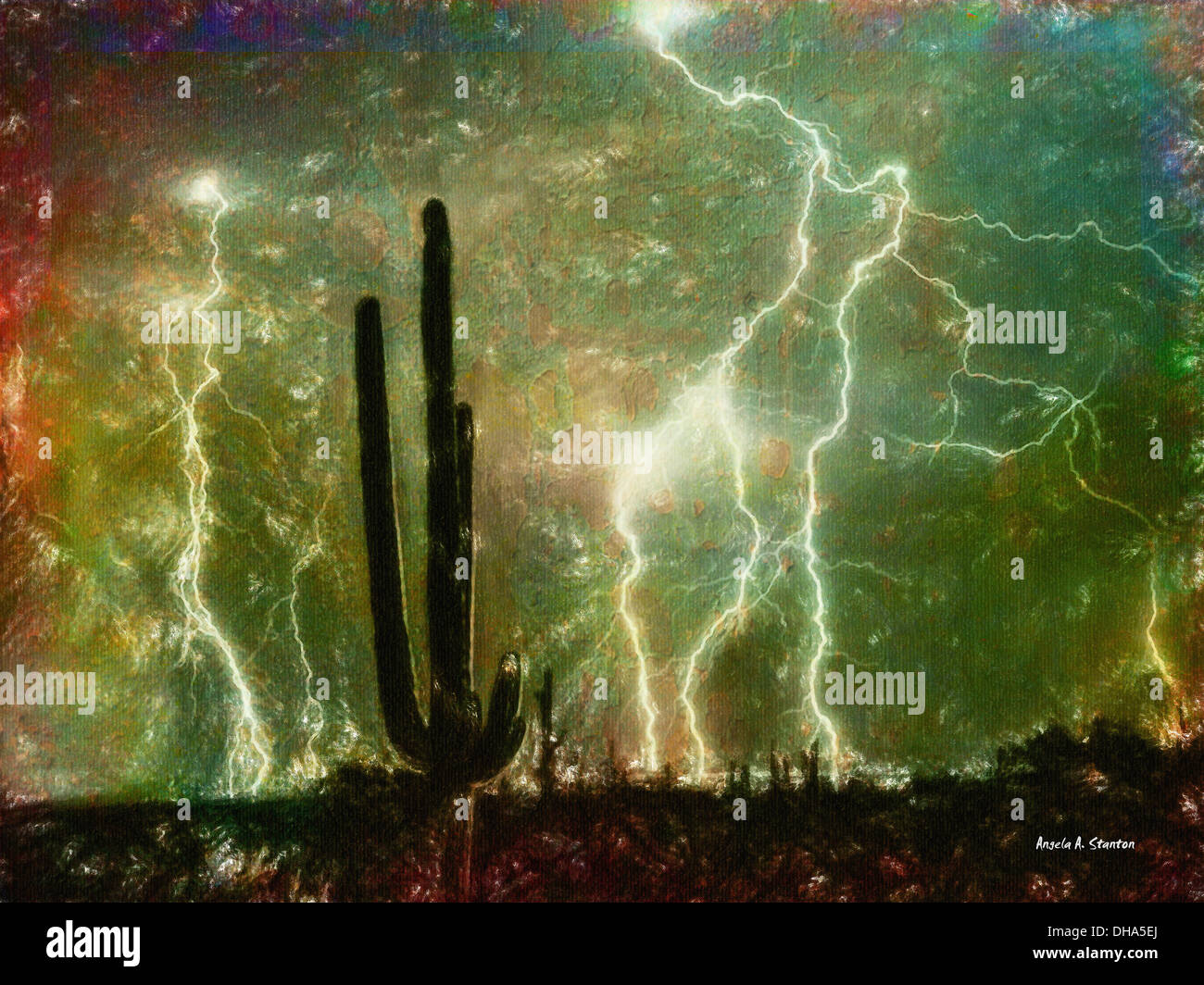 Computer Generated Image Of Lightening Strikes From Cloud To Ground And A Cactus Plant In The Foreground - Stock Image