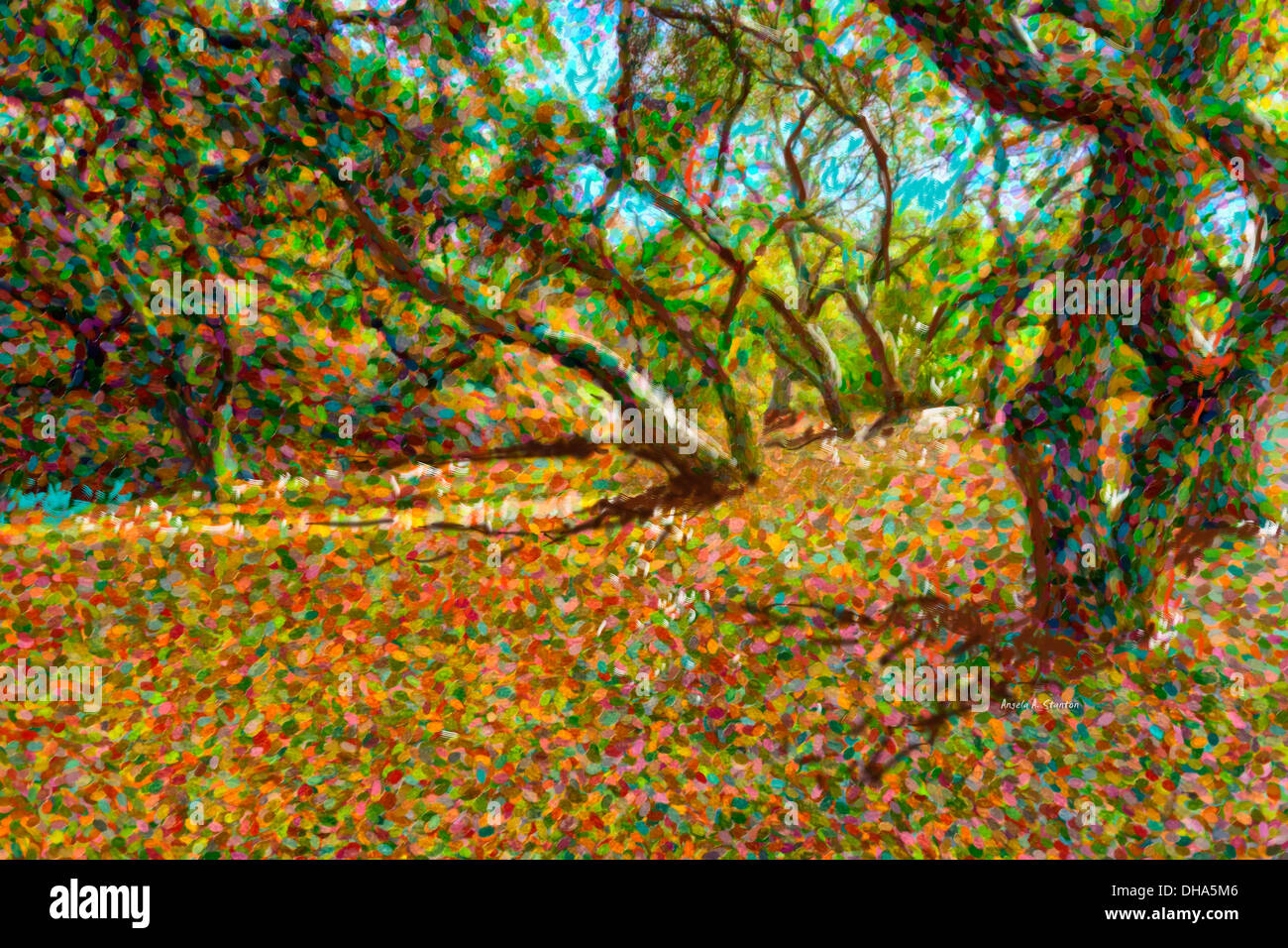 Computer Generated Image Of Autumn Coloured Leaves Fallen From Trees - Stock Image