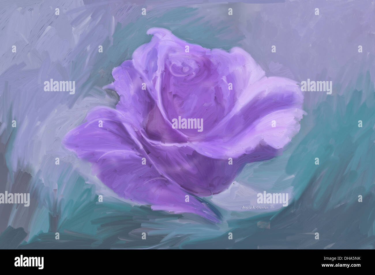 Computer Generated Image Of A Purple Flower - Stock Image