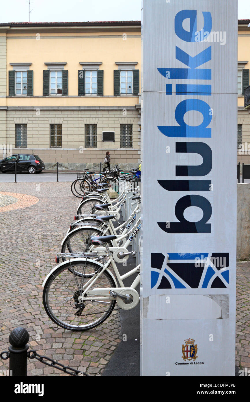 Blubike automatic cycle hire system, bike sharing station in Lecco, Italy. - Stock Image