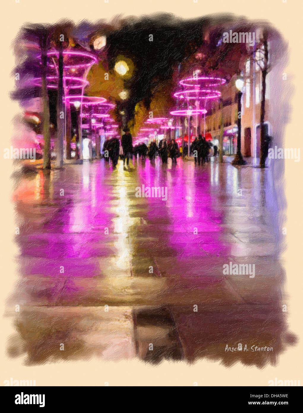 Computer Generated Image Of Pedestrians On A Walkway With Pink Neon Lights Reflecting On The Wet Pavement At Nighttime - Stock Image