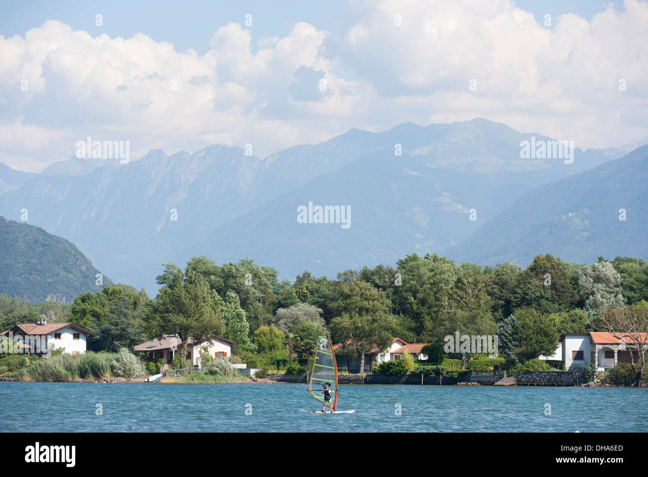 Wind surfing in Lake Como Italy - Stock Image