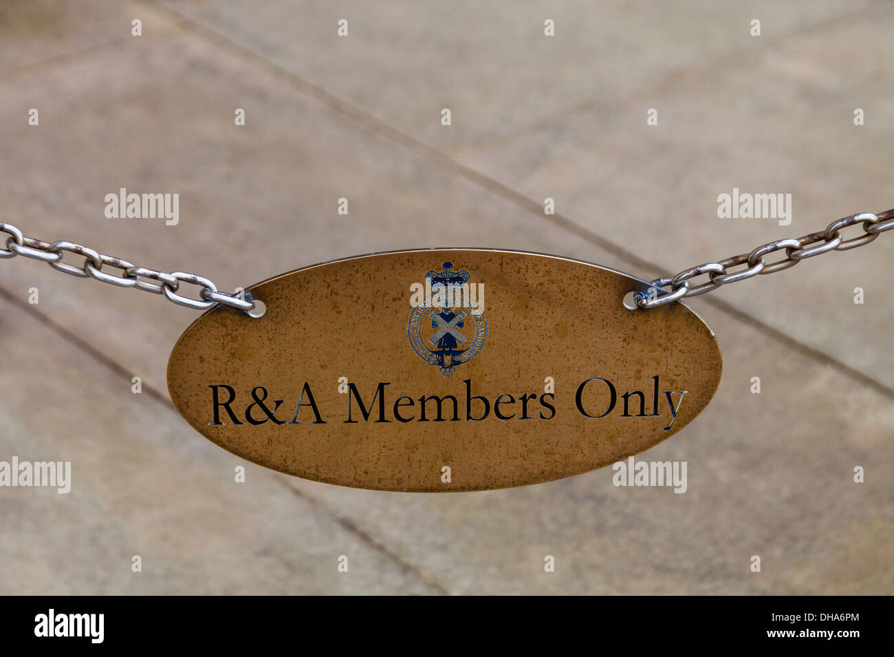 A R&A Members Only sign at the Royal And Ancient Clubhouse, St Andrews, Scotland. - Stock Image