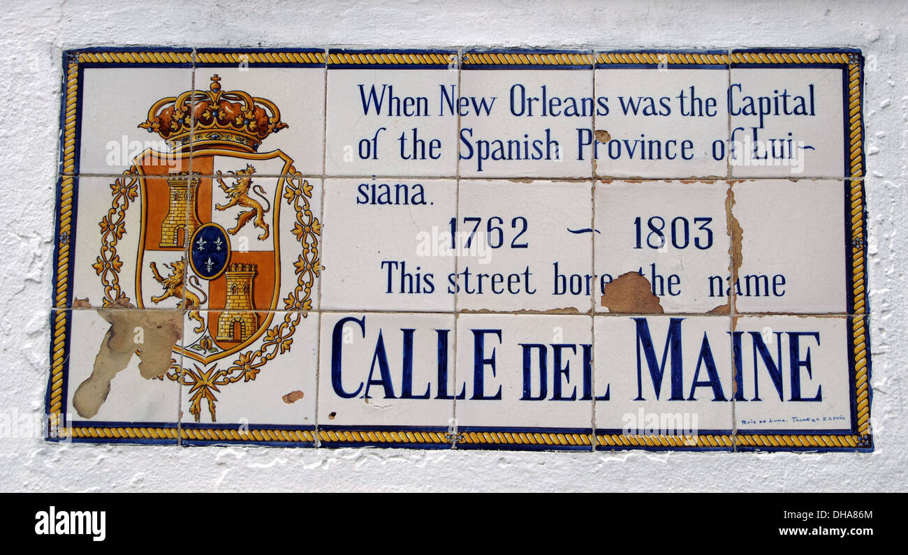 USA. New Orleans. Spanish Street Name Tile Murals. 'Maine Street'. - Stock Image