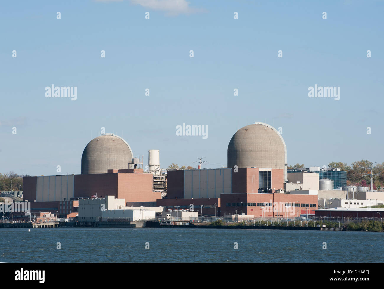 The Indian Point Energy Center — a nuclear reactor — is on the Hudson River around 35 miles north of New York City. - Stock Image