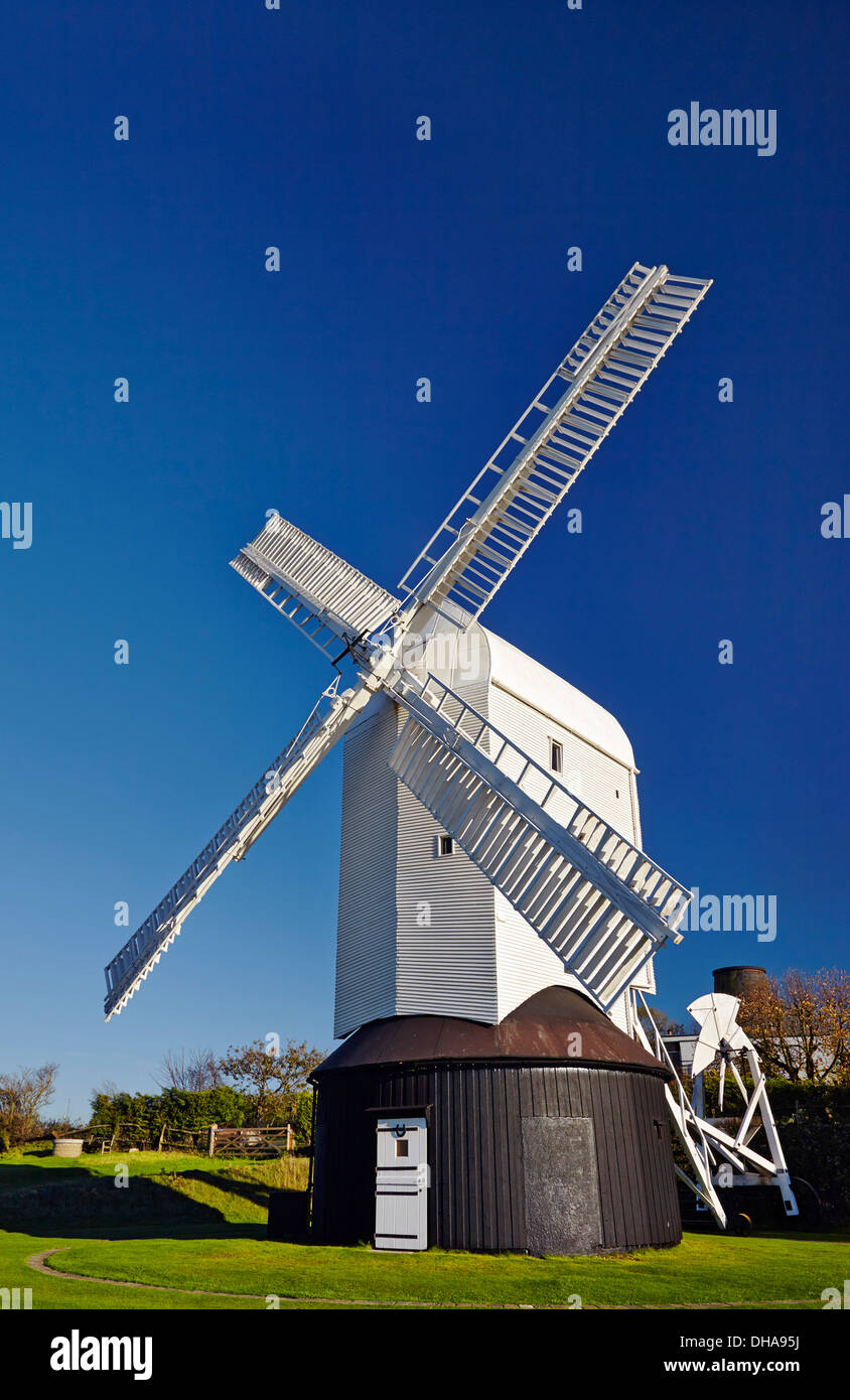 Jill Windmill - one of a pair known as Jack & Jill - on the South Downs at Clayton. Near Brighton, Sussex, England. - Stock Image