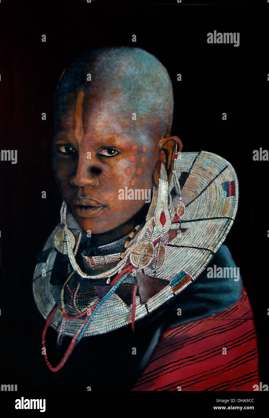 Modern Art Gallery Painting woman Kenya Tanzania Africa African - Stock Image