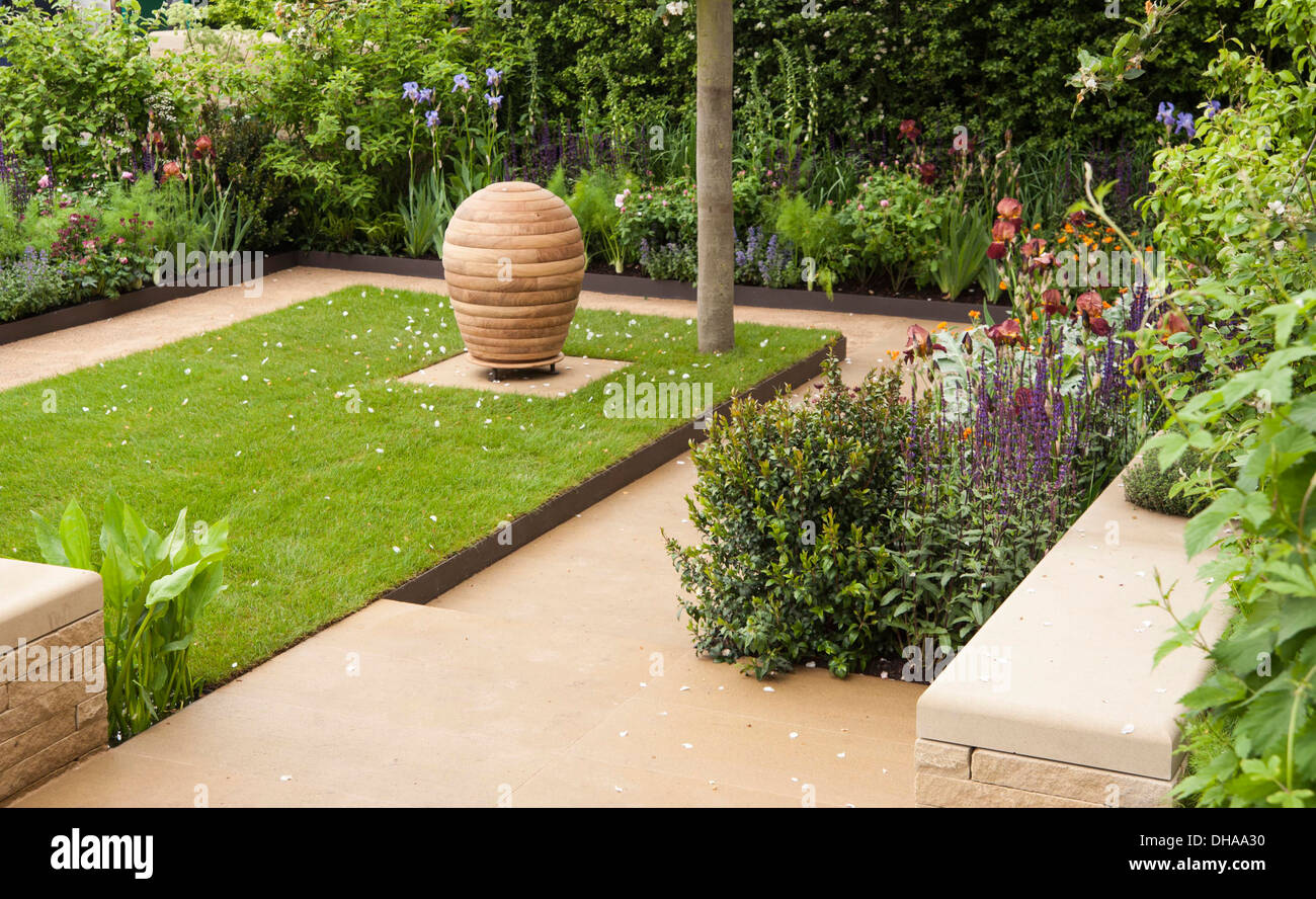 Chelsea Flower Show 2013, Homebase garden, 'Sowing the Seeds of Change' Designer Adam Frost. Gold medal. - Stock Image