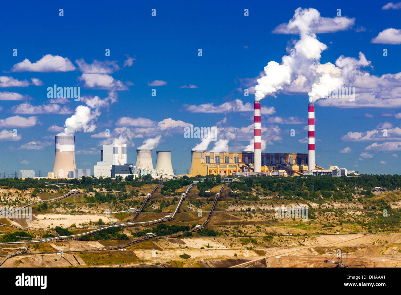 Surface coal mining and power station in Belchatow, Poland - Stock Image