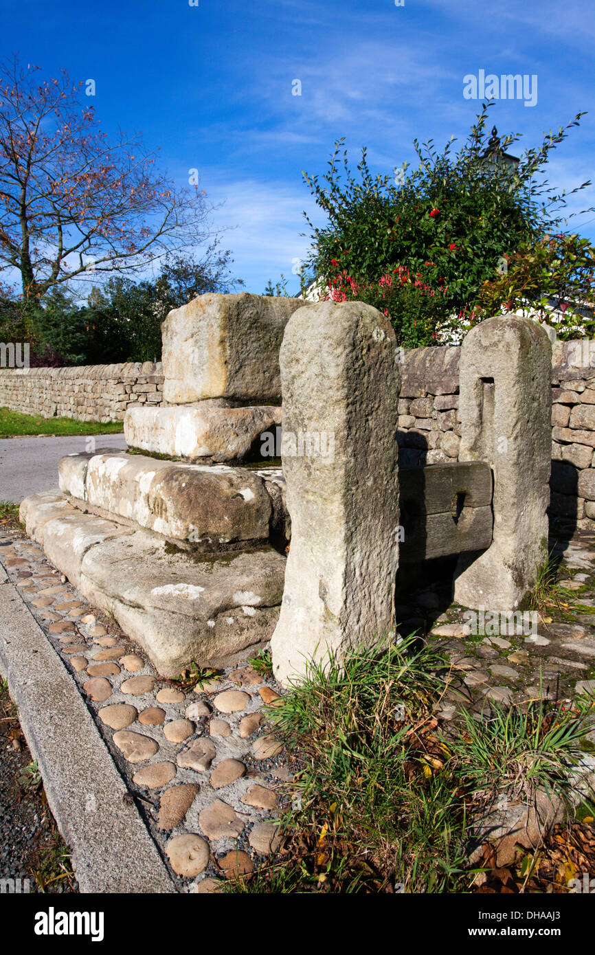 Ancient Cross and Stocks at Clint North Yorkshire England Stock Photo