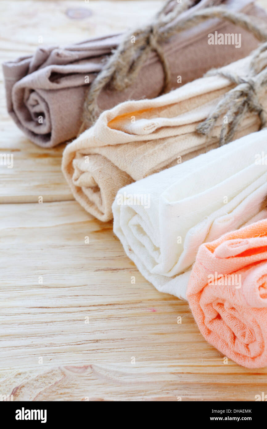 organic textiles for the kitchen on the table, nice towels