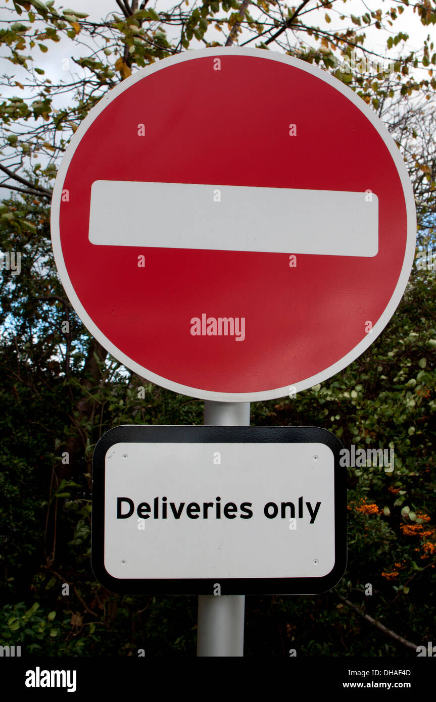 No entry, deliveries only sign - Stock Image