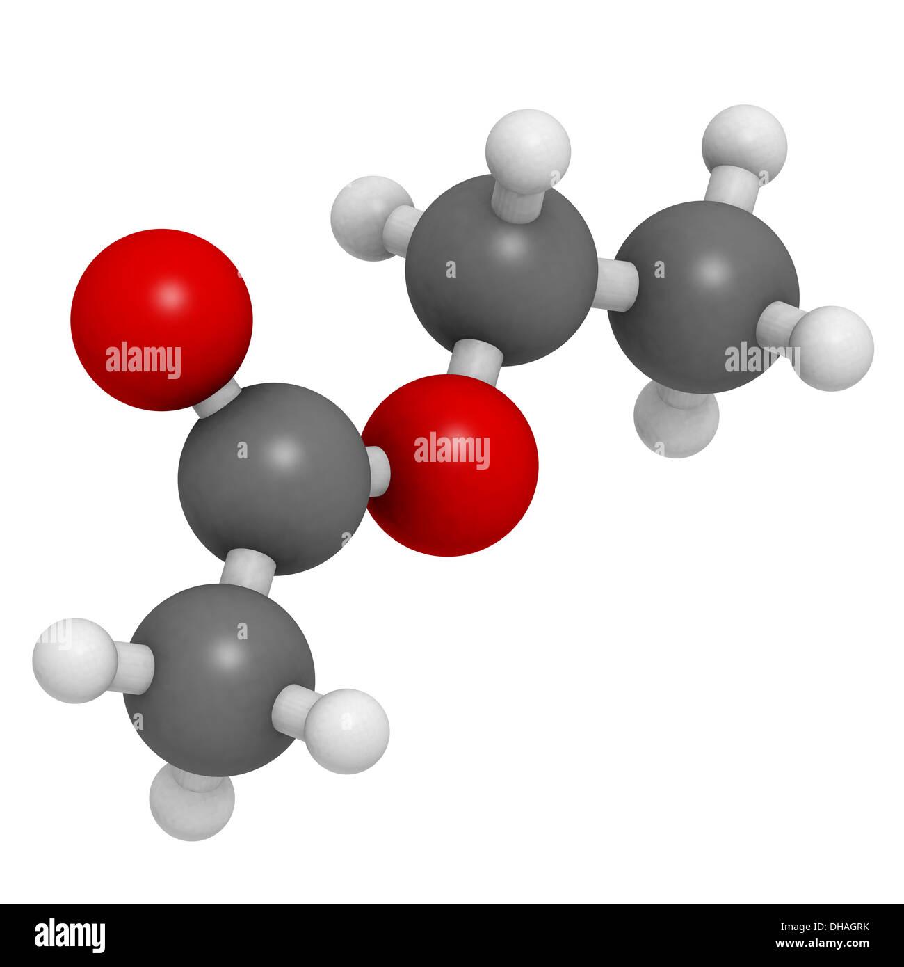 Ethyl acetate (EtOAc) molecule, chemical structure. Organic solvent ...