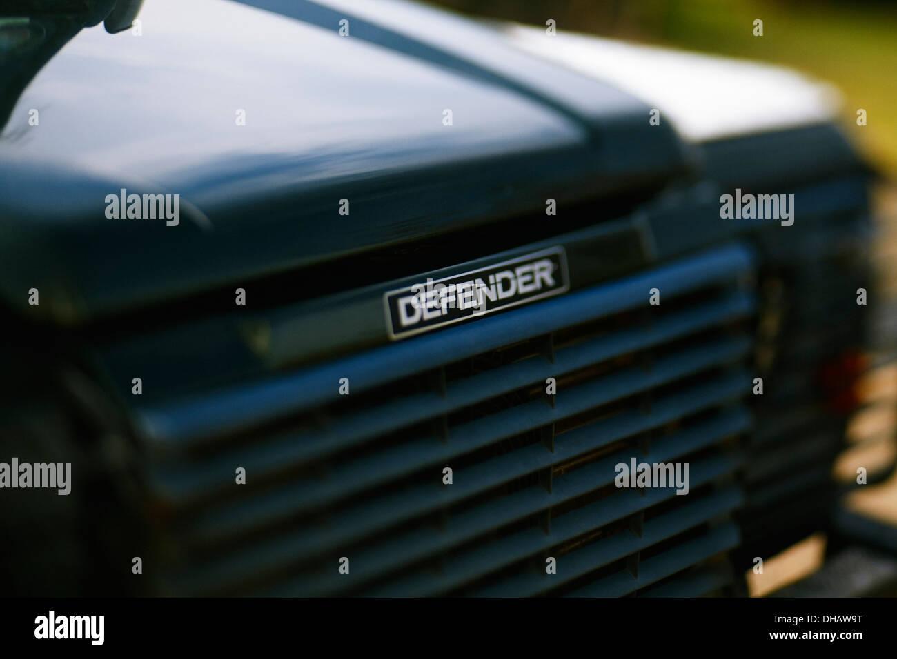 Land Rover Defender badge - Stock Image