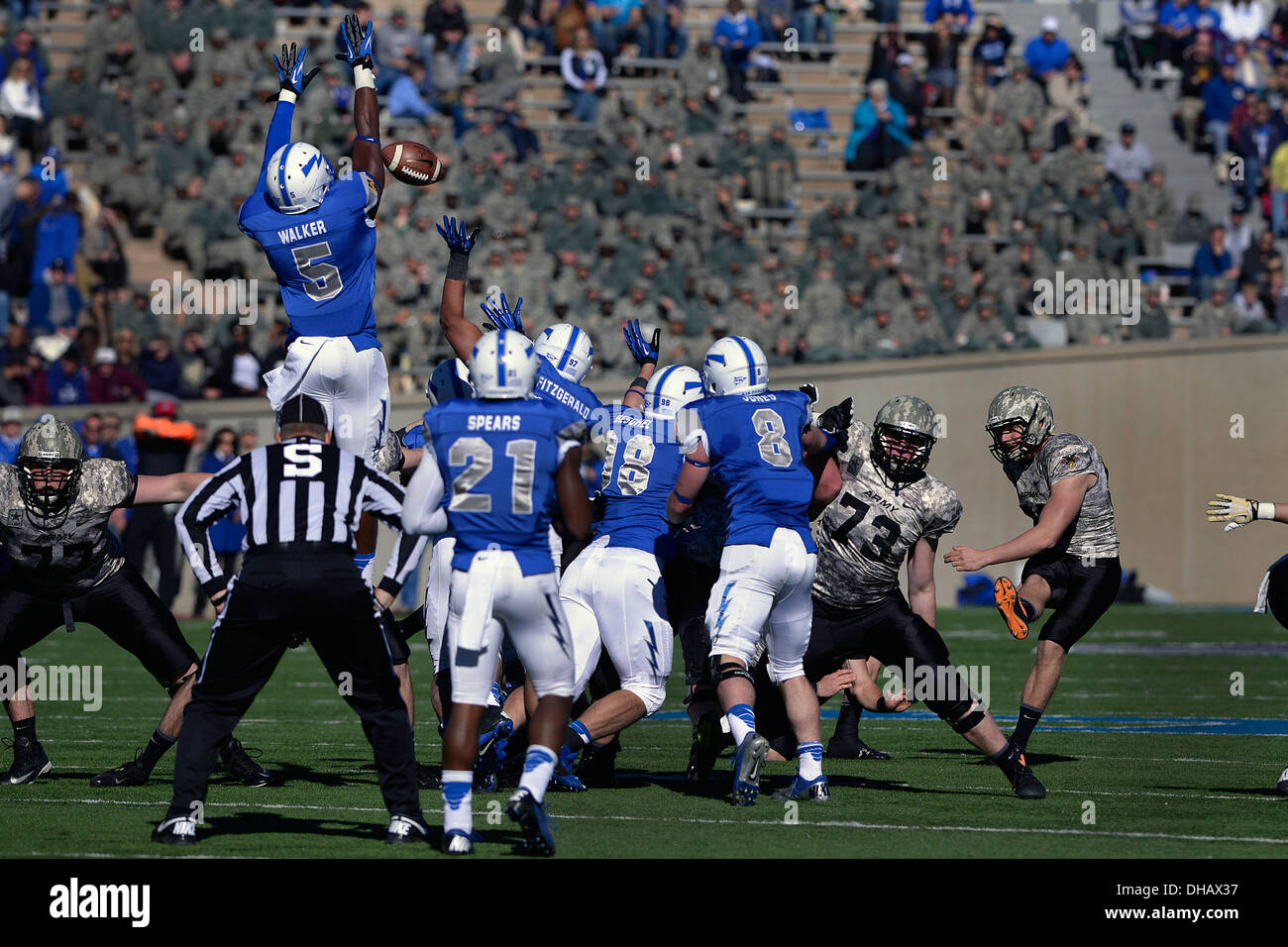 Falcon defensive back Dexter Walker, a sophomore, jumps up to block a field goal during the first quarter of the Air Force vs Army football game at the U.S. Air Force Academy's Falcon Stadium in Colorado Springs, Colo November 2, 2013. - Stock Image