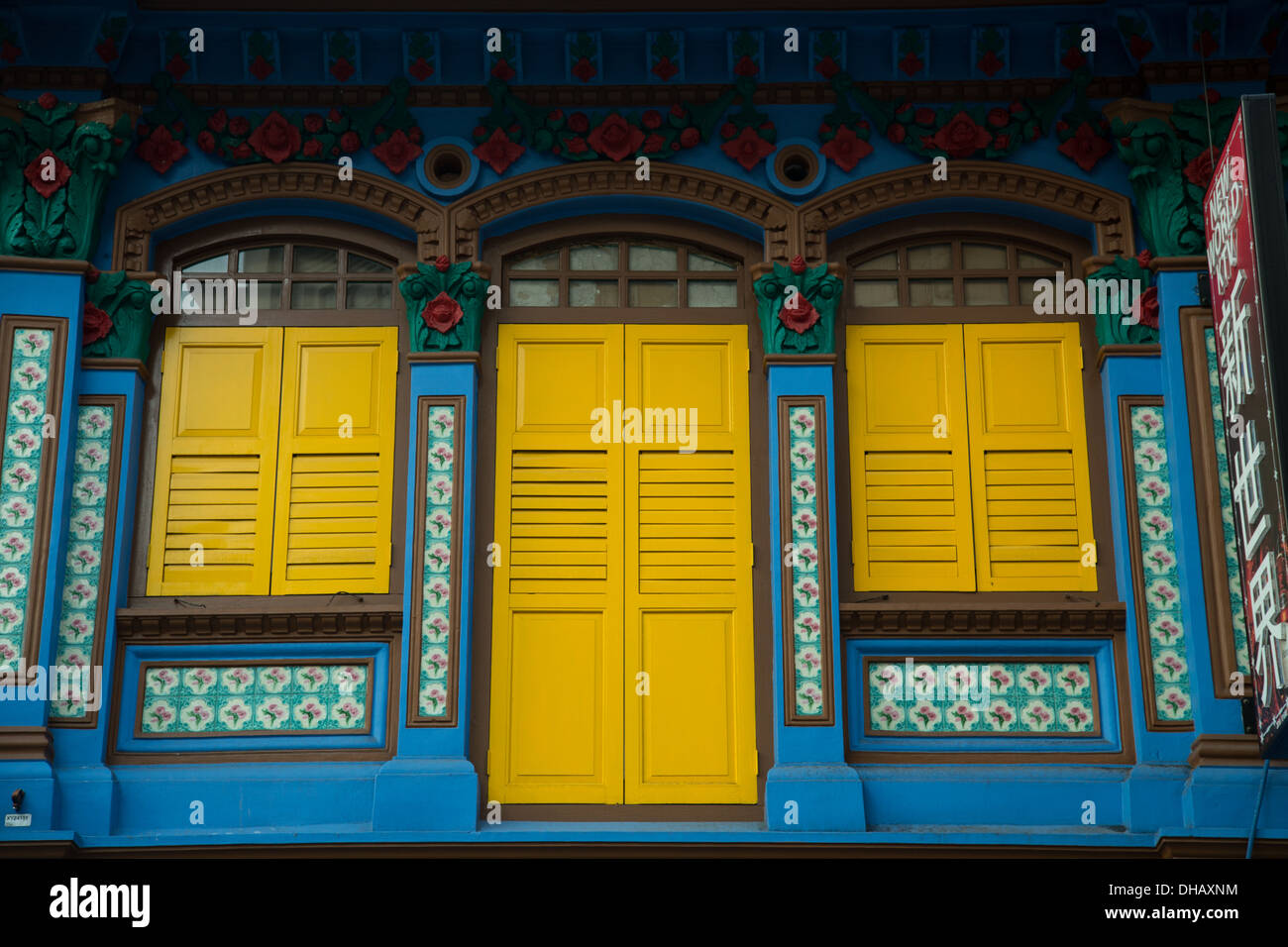 Shophouses are vernacular architectural buildings found in Southeast Asia, particularly Singapore and Penang. Stock Photo