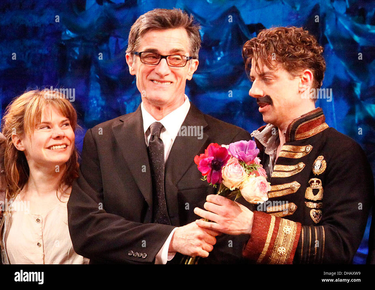 Celia Keenan-Bolger Roger Rees and Christian Borle Broadway opening night of 'Peter and Starcatcher' at Brooks Atkinson Theatre - Stock Image