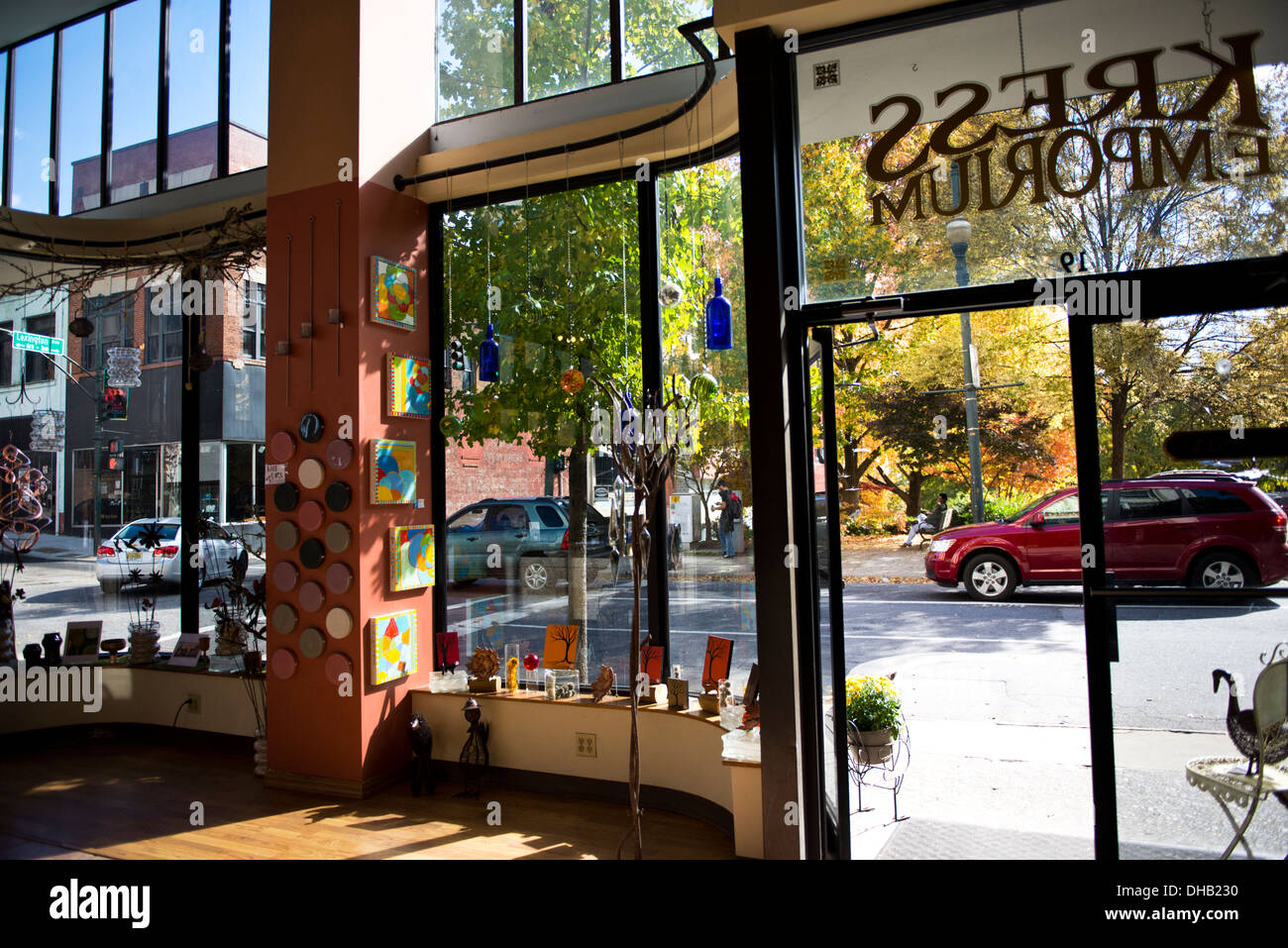 Inside looking out of the Kress Emporium store in Asheville North Carolina - Stock Image
