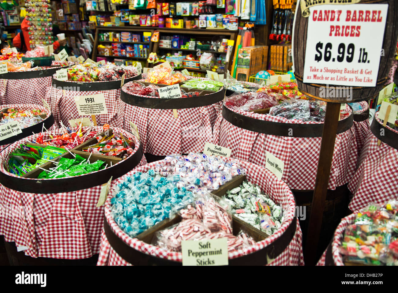 Candy barrels in the Mast General Store in Asheville North Carolina - Stock Image