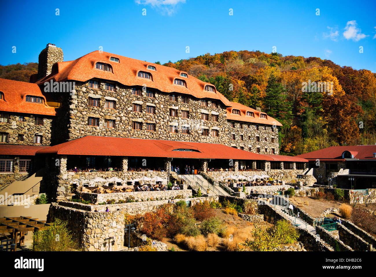 Autumn colors at the Grove Park Inn Asheville North Carolina - Stock Image