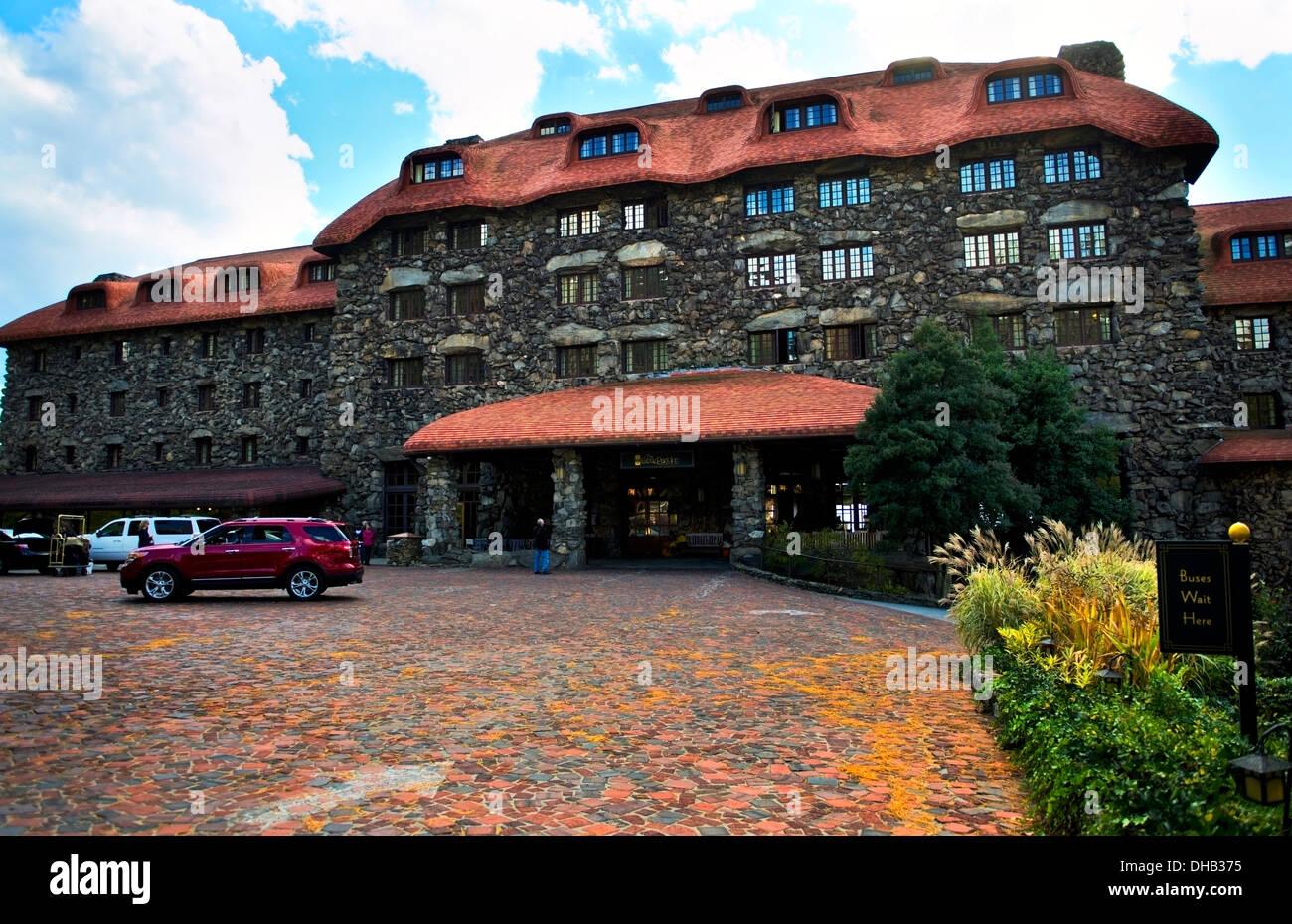 Front entrance of the Grove Park Inn, Asheville North Carolina - Stock Image