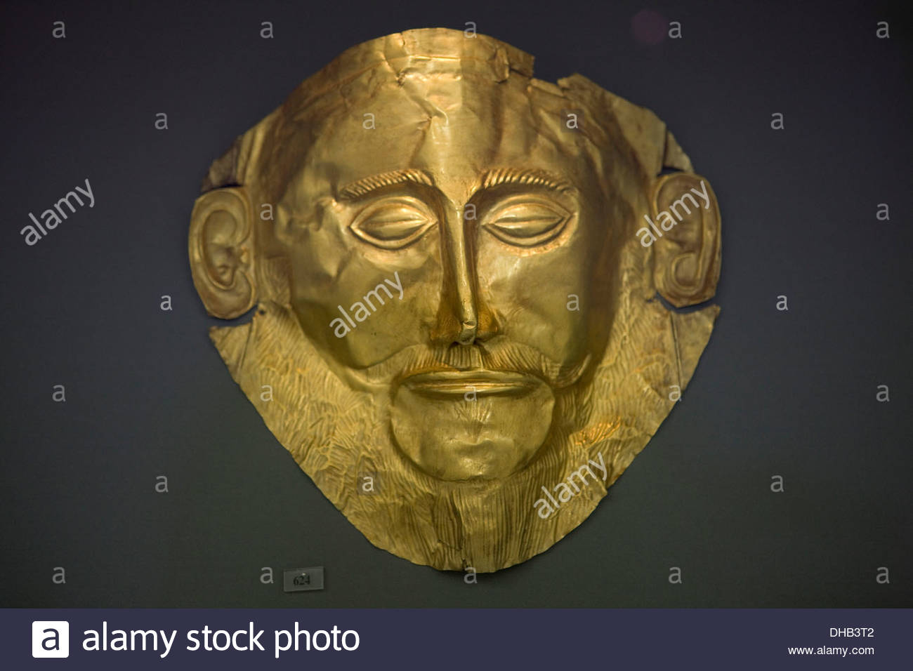 Gold Death Mask of Agamemnon, National Archaeology Museum, Athens, Greece, Finds from Grave V, Grave Circle A, Mycenae, 16th - Stock Image