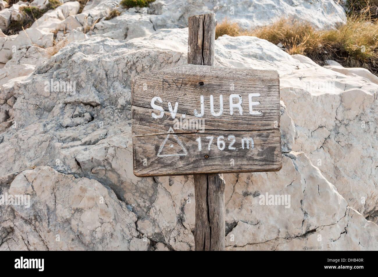Sv. Jure peak sign in Biokovo mountains, Croatia. - Stock Image