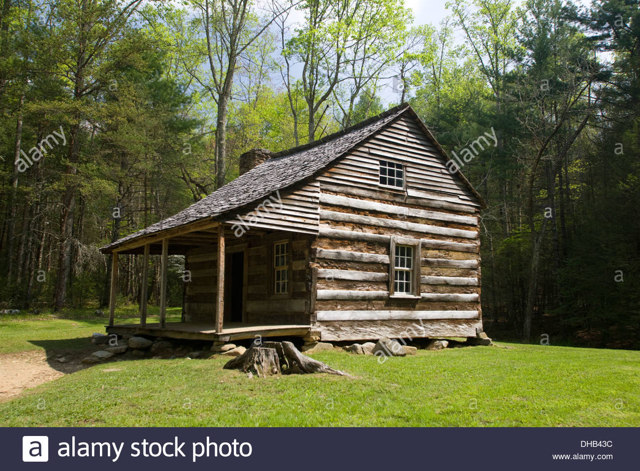 Carter Shields Cabin, Cades Cove, Great Smoky Mountain National Park Stock Photo