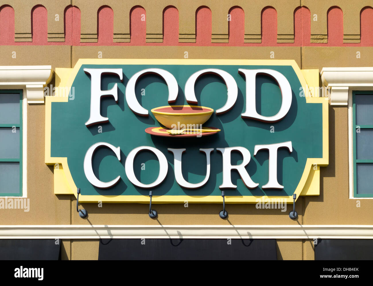 Colorful Food Court sign outside an outlet shopping mall. - Stock Image