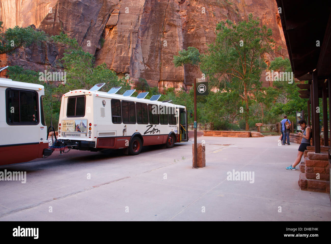 Shuttle bus at the Temple of the Sinawava, Zion National Park, Utah. - Stock Image