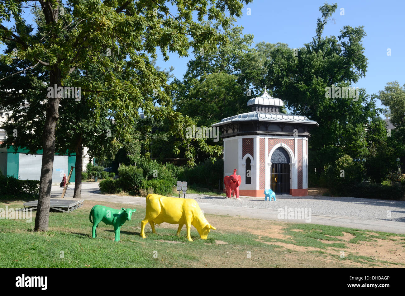 Elephant House or Animal House & Plastic Resin Animals at Marseille Funny Zoo Marseille France - Stock Image