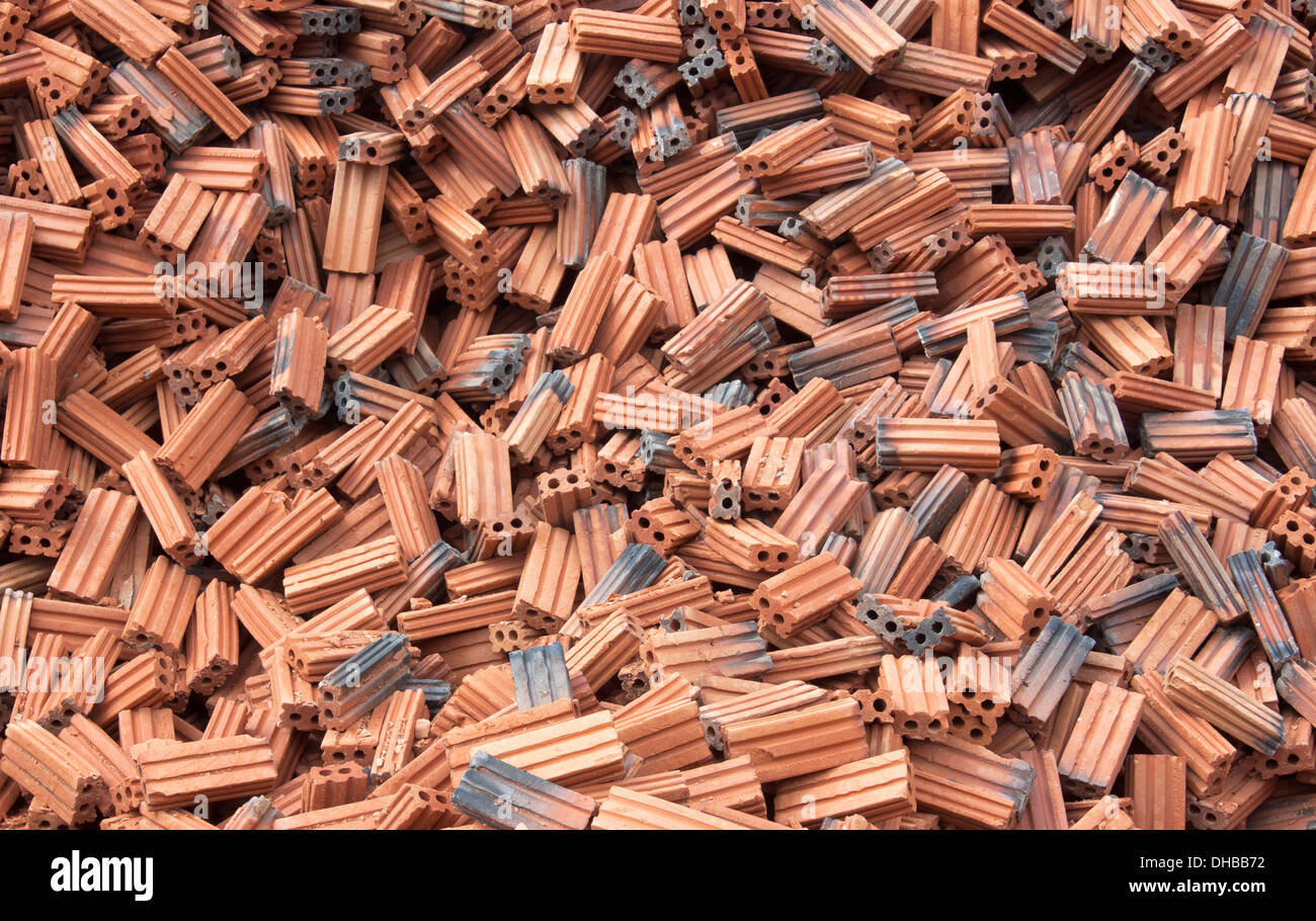 Red bricks for construction of house building - Stock Image