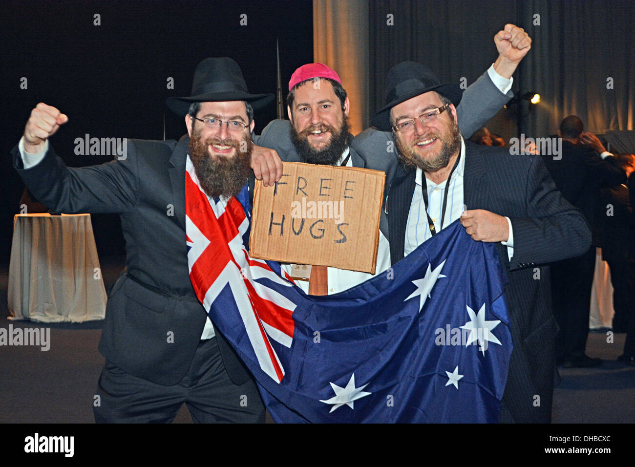 3 Australian rabbis at the convention of Lubavitch emissaries in Brooklyn, New York 11.3.2013. - Stock Image