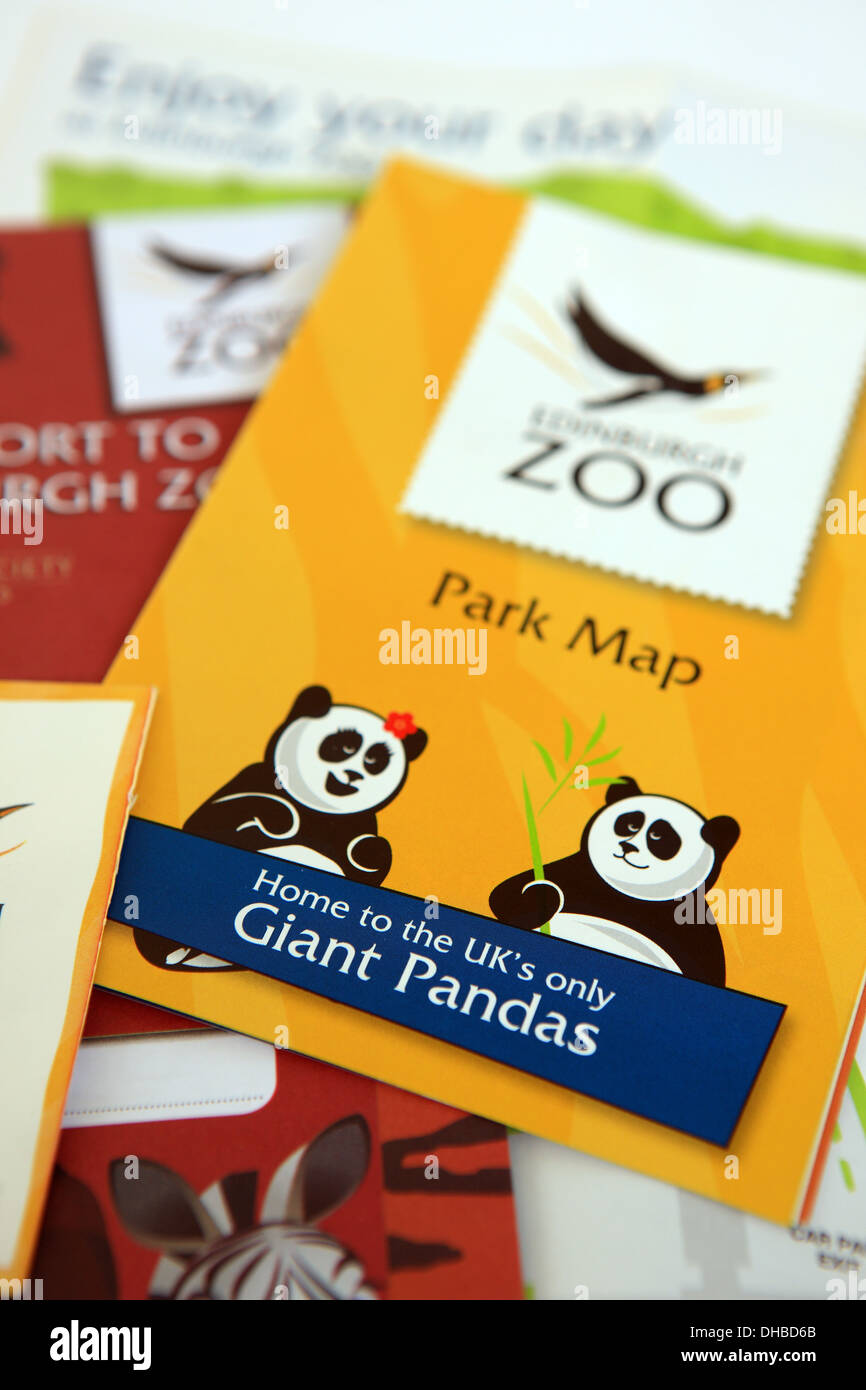 Edinburgh Zoo park map and other literature highlighting the Giant Pandas which are on loan from China in a 10 year deal - Stock Image